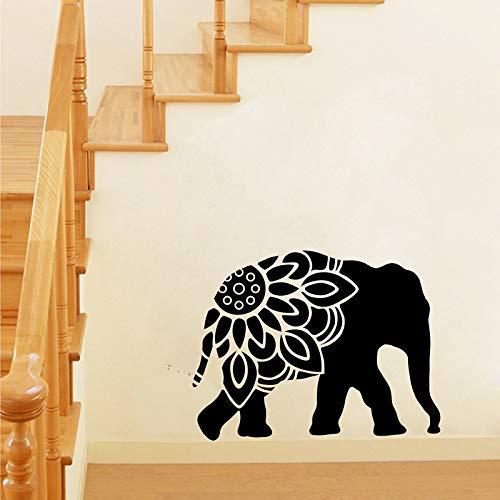 Elefant Mandala Silhouette Vinyl Wandkunst Aufkleber Tier Elefant Clipart Wandtattoos Wohnzimmer Aufkleber Wandbild Wanddekoration Silber 50x38 cm