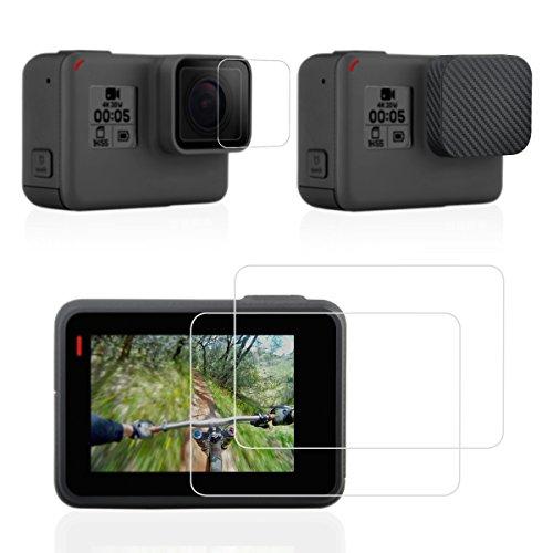 Screen 4 Gopro Protector (Sametop Bildschirmschutz Screen Protector für GoPro Hero6 Hero5 Schwarz Kameras mit Objektivdeckel Lens Cap Cover und Temperglas Film Zubehör )