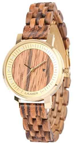 LAiMER Damen-Armbanduhr JENNI Mod. 0066 aus Zebranoholz - Analoge Quarzuhr mit Swarovski-Kristalle, Edelstahlgehäuse und Holzarmband