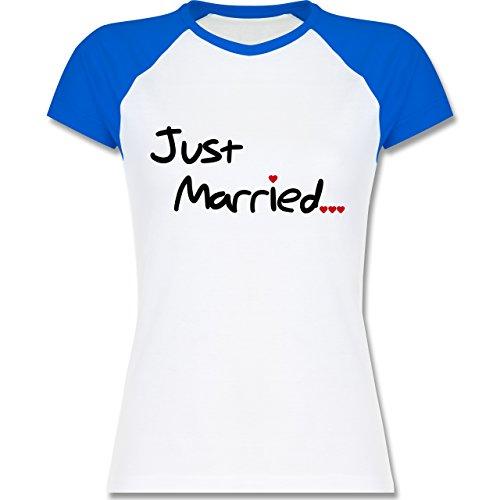Shirtracer JGA Junggesellinnenabschied - Just Married - Zweifarbiges Baseballshirt/Raglan T-Shirt für Damen Weiß/Royalblau