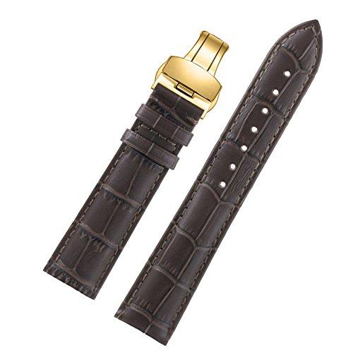 15mm dunkelbraun deluxe Lederarmband exquisiter Damen mit schwarzer Masche Gold Falten natürliches Rindes Schnalle (Falten Italienischen Leder)