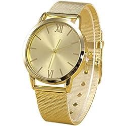 Sunnywill Neue Gold Mode Edelstahl Mesh Band Armbanduhr für Frauen Mädchen Damen