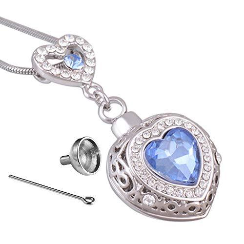 CHOUCHOU Halskette Ohrringe Schmuck Set Kette Ewiges Herz Asche anhänger Liebhaber Liebe Haustiere Asche parfümflasche gedenkanhänger (Color : A)