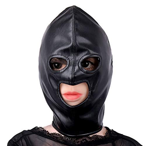 TINGSHOP Erotische Kopfmaske Erotische Augenhaube Leder-Reißverschluss-Spielzeug SM-Bondage Bestrafen Fetisch Schwarz Sex Paar Spielzeug Rollenspiel Für Anfänger