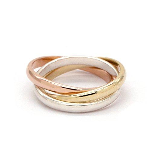 EME 2.5mm 925 Sterling Silber mit Rose Gold, Silber und Gold überzogen Rolling Ring (46 (14.6))