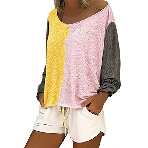 MOTOCO Langärmliges Damen T-Shirt Lässig O-Ausschnitt Patchwork Sweatshirt Loses Hemd Blusen Tunika Tops(M,Gelb-3)