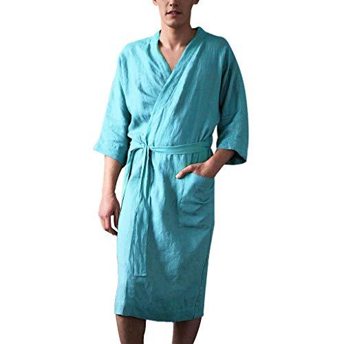 Leinen Pyjama für Herren/Skxinn Männer Nachtwäsche Bademantel Lange Große Größen Kimono Robe Solide Lose Sommer Retro Startseite Kleidung,Herrenkleidung M-4XL Reduziert(Himmelblau,Large)