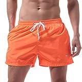 KPILP Herren Boxershorts Sportswear Super Bequem Freizeithose Unterwäsche Shorts Badehose Quick Dry Beach Surfing Laufen Schwimmen Watershort( Orange,M