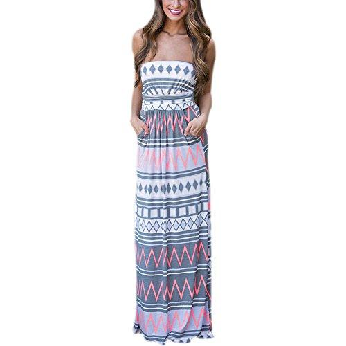 Frauen-Sommer-beiläufiges trägerloses Drucken-Maxi Kleid-böhmisches Sleeveless Strand-langes Beleg-Kleid (XL) (Haltung Ärmellos)