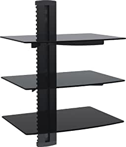 vonhaus wandregal 3 glasregale aus verst rktem hartglas mit wandhalterung f r dvd player ps4. Black Bedroom Furniture Sets. Home Design Ideas