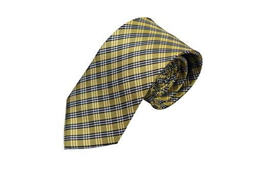 Preisvergleich Produktbild Notch Krawatte aus Seide für Herren - Komplex kariertes Muster in Schwarz,  Gold und Weiß