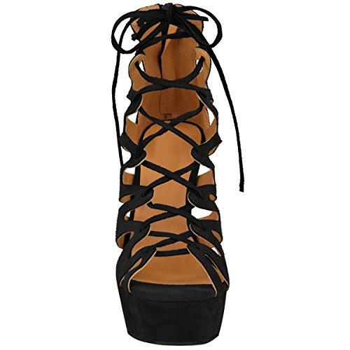 Neuf Plate-forme De Haut Talon Womens Mesdames Sandales Spartiates Bottines Cheville Lacet Chaussures Pointure Noir Daim Synthétique
