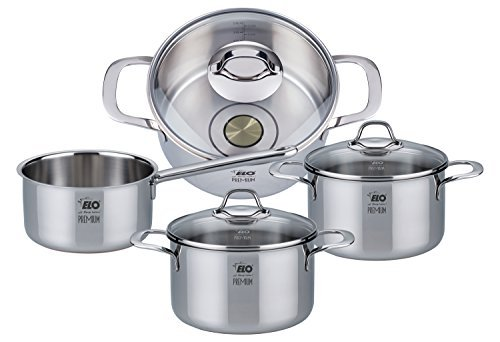 ELO Premium Silicano Plus Stainless Steel Kitchen Induction Cookware Pots and Pans Set with Oil Measuring System, Shock Resistant Glass Lids and Copper Core, 7-Piece by ELO Cookware