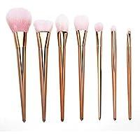 Brocha de maquillaje, Internet 7pcs Set cepillo profesional de alta cepillo del sistema de cepillos Blush (Oro rosa)