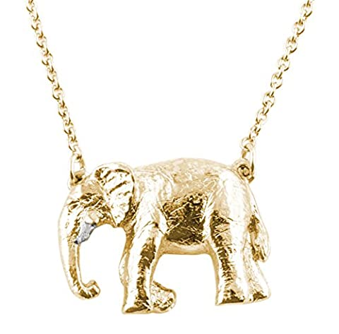 Bill Skinner Women's 18ct Yellow Gold Plated Elephant Pendant Necklace of Length 45cm