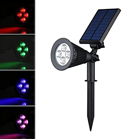 (Changing Color) LED Solar Spotlight / Solar Powered Outdoor Wall Light,angle Adjustable, Auto-on At Night/Auto-off By Day - Solar Outdoor Lighting, Spotlights, Security Lighting, Path Lights, In-ground Lights, Landscape Light, Solar Flag Pole Light for Tree, Patio, Deck, Yard, Garden, Driveway, Stairs, Pool Area, Etc(3 Generation)