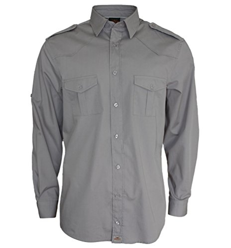 ROCK-IT Herren Hemd langarm US-Hemd military Look Worker Hemd Worker shirt Freizeit made in Europa Größen S-5XL Farbe Charcoal 3X-Large (Arbeitshemd 3x)