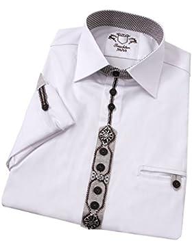 Moschen-Bayern Best-Quality Trachtenhemd Herren Langarm Kurzarm 100% Baumwolle mit Metall-Edelweiß - Weiß Braun
