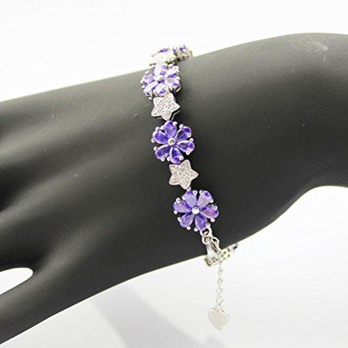 Ange en jade Link Fleur Bracelet en argent sterling avec Améthyste zircone cubique pierres couleur: violet violet