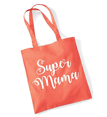 Edward Sinclair 'SUPER MAMA Coral Tote Bag with White Print (Coral Bag Tote)