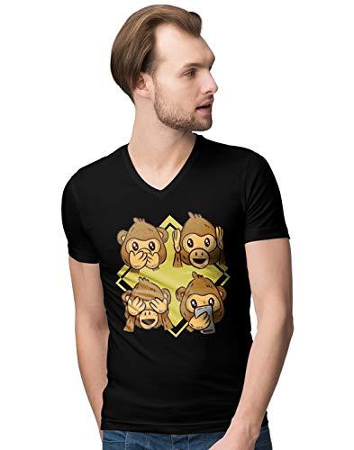 Cute Monkey Reaction Faces Illustration Herren V-Neck T-Shirt XL