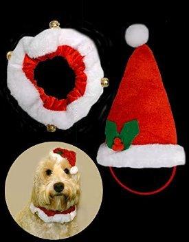 Caomoa Pet Weihnachtsmütze mit Kragen + Glocke - tolles Neuheit Outfit für Hunde, Welpen, Katzen - 2er Set (Neuheit Weihnachtsmützen Kostüm)