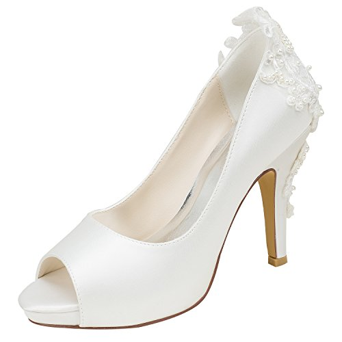 Emily Bridal Elfenbein Hochzeit Schuhe Seide High Heel Peep Toe Perlen Detail Slip On Pumps (EU40, Elfenbein) Detail Peep Toe Pumps