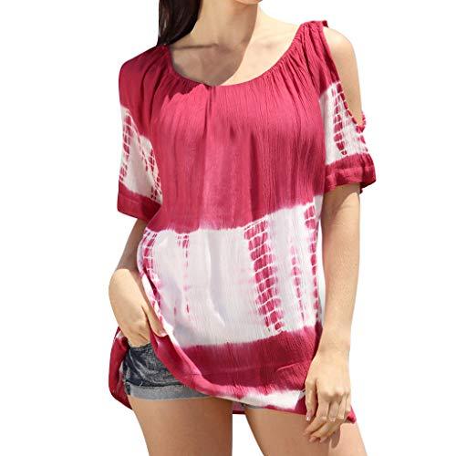 Damen Bluse Mode Frauen Sommer Kurzarmshirt Oansatz Kurzarm kalte Schulter Tie-Dye Druck Color Block Top T-Shirt (rot,XL)