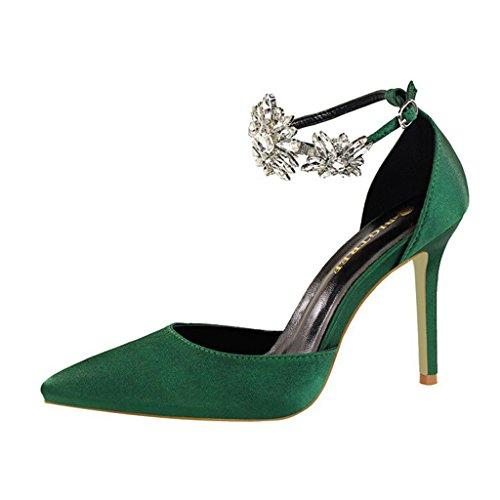 Aluk- scarpe da donna - scarpe con tacchi alti scarpe con strass sandali scarpe da sposa per banchetti ( colore : verde , dimensioni : 35-shoes long225mm )