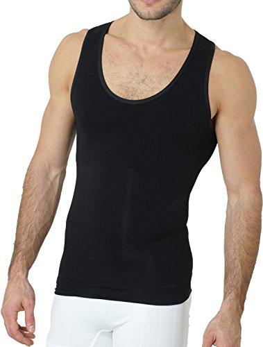 UnsichtBra Herren Shapewear Unterhemd | Body Shape Bauch Weg Shirt | Figurformende Wäsche | Tank Top weiß o. schwarz (sw_7100) (S, Schwarz)