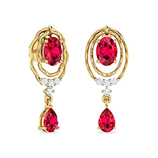 PC Jeweller The Alexavier 18KT Yellow Gold and Diamond Stud Earrings for Women