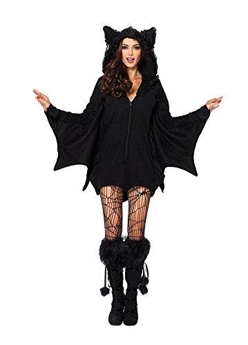 YiJee Damen Karneval Kostüm Fledermaus Party Cosplay Kostüme Königin Halloween Kleider Schwarz 2XL