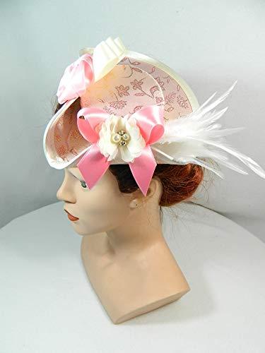 (Mini Dreispitz rosa Brokat Marie Antoinette Barock Rokoko Western Headpiece Haarschmuck)