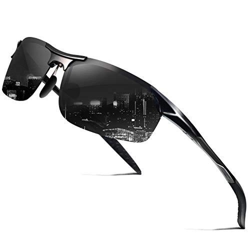 wearPro Sonnenbrille Herren männer Polarisierte Al-Mg Metall Rahme Ultra Leicht WP1015 (B Black/Black, 2.36)