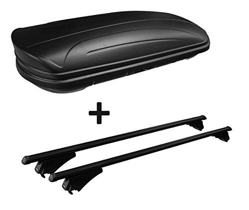 VDP Dachbox schwarz matt MAA320M günstiger Auto Dachkoffer 320 Liter abschließbar + Alu-Relingträger Dachgepäckträger für aufliegende Reling im Set für Hyundai Tucson TL ab 2015