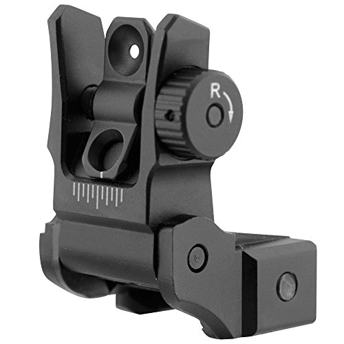 UTG Low Profile Flip-up Rear Sight with Dual Aiming Aperture Mnt-955 Visier, Schwarz, One Size (Leupold Flip)