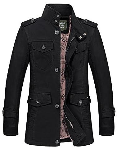 Manteau Classique Long Homme - JIINN Homme Classique Nouveau Militaire Style Automne