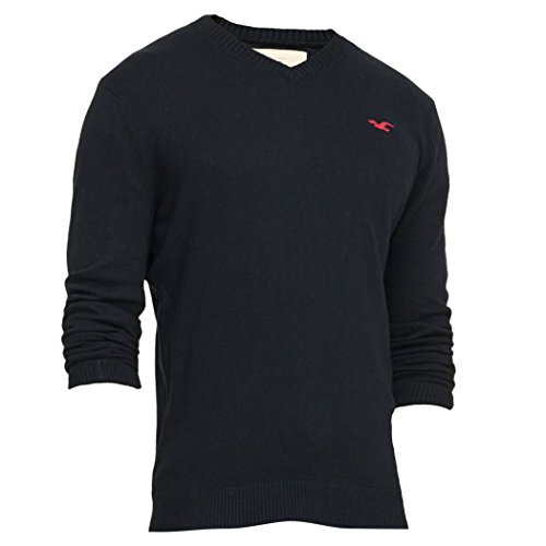 hollister-mens-v-neck-icon-sweater-jumper-pullover-size-m-navy-623316407