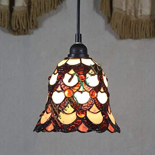 Tiffany Stil Mini Anhänger Downlight Deckenbeleuchtung, 8 Zoll Glasmalerei Schatten Metall Deckenplatte Hängelampe für Restaurant Bar, 110-240 V / E27 / E26 - Tiffany Mini Anhänger Lampe