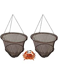 Hillington Set of 2 Crab Drop Nets with Bait Clip and Rope - Weighted Crab Fishing Nets Great Holiday Fun – Features Secure Spring Bait Clip in the Base 10m of Rot-Proof Rope Line