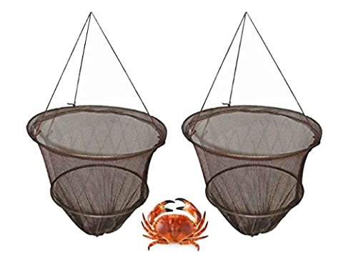 Hillington ® Set of 2 Crab Drop Nets with Bait Clip and Rope - Weighted Crab Fishing Nets are Great Holiday Fun for Kids and Big Kids Alike – Features Spring Clip in the Base to Secure the Bait and 10m of Secure Rot-Proof Rope Line – Simple and Easy to