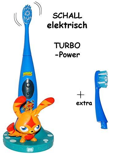 """3 tlg. Set: elektronische SCHALL Zahnbürste - """" Moshi Monsters """" - Schallzahnbürste - incl. Zahnbürstenhalter & extra Bürstenkopf / Aufsatz - Kinder & Baby / Batterie betrieben - hochwertige Borsten - Kinderzahnbürste & Babyzahnbürste - Mädchen & Jungen - Katsuma Stand - zum Hinstellen / Aufstellen - Putztrainer - Zähne putzen - elektrisch Kleinkinder / Monster - Zahnbürsten / Zähneputzen lernen"""