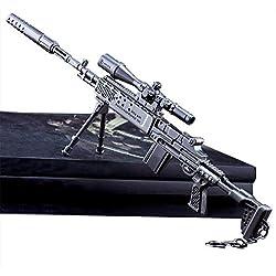 Llavero - 27 CM MK14 Rifle de Francotirador Modelo de Juguete de Aleación -Juguetes de Réplica de Armas para Niños Adultos, Decoraciones, Manualidades- Vista + Silenciador + Soporte + Cargador