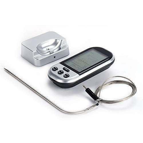 YOUEC Futterthermometer Wireless Instant Read Fleischthermometer mit wasserdichter Sonde Küchenthermometer zum Grillen,Silver