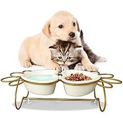 Umi. by Amazon - Comedero y Bebedero para Perros y Gatos: Juego de Dos Cuencos de Cerámica con Soporte de Acero Inoxidable