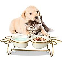 Umi. by Amazon - set di ciotole rialzate per cani e gatti, ceramica a doppia parete e base in acciaio inossidabile