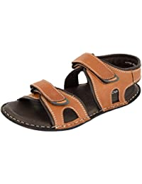 Foresthill Men's Tan Leather Athletic & Outdoor Sandals and floaters 9024TAN