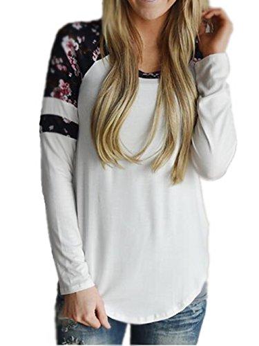 000910d9ff Blusas Y Camisas Mujer Estampadas Flores Camiseta Tops Con Mangas Largas  Tallas Grandes ...