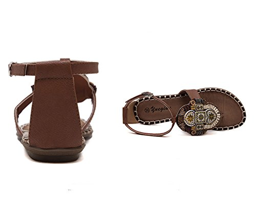 Donna Sandali Con Infradito Sandali Con Perline Boemia Stile Scarpe Clip Toe Sandali Marrone chiaro