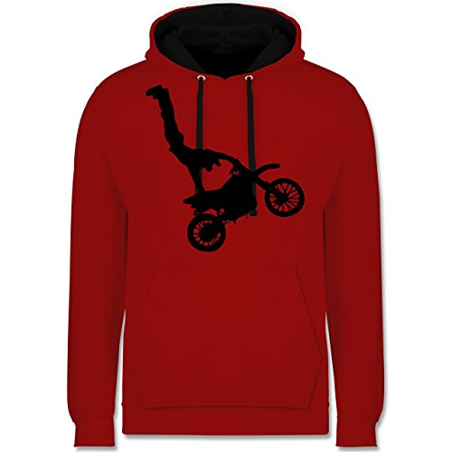 Motorsport - Motorrad Stunts - Kontrast Hoodie Rot/Schwarz